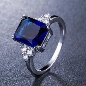 Jewelry - 14k WG Deep Blue Sapphire & Diamond Halo Ring
